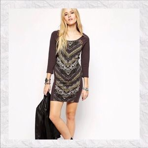 Free People Out Of Africa 3/4 Sleeve Dress
